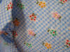 Bright Flowers on Blue checked